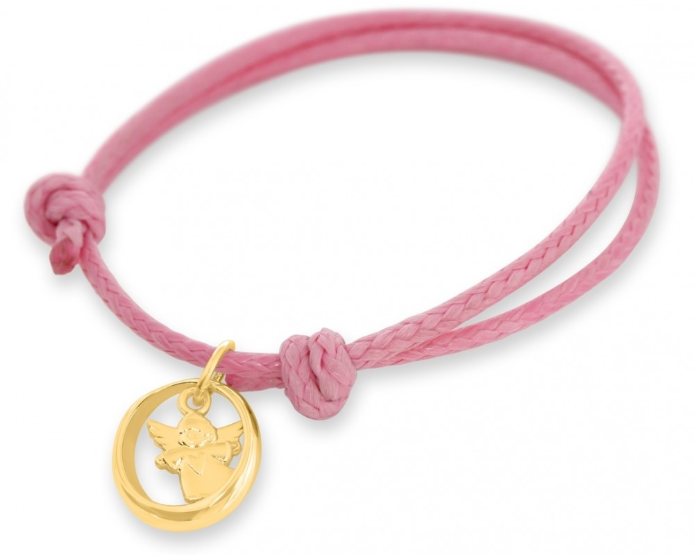Taufring Engel Armband Mädchen rosa Gold Taufarmband Geschenk Taufe Kinderschmuck