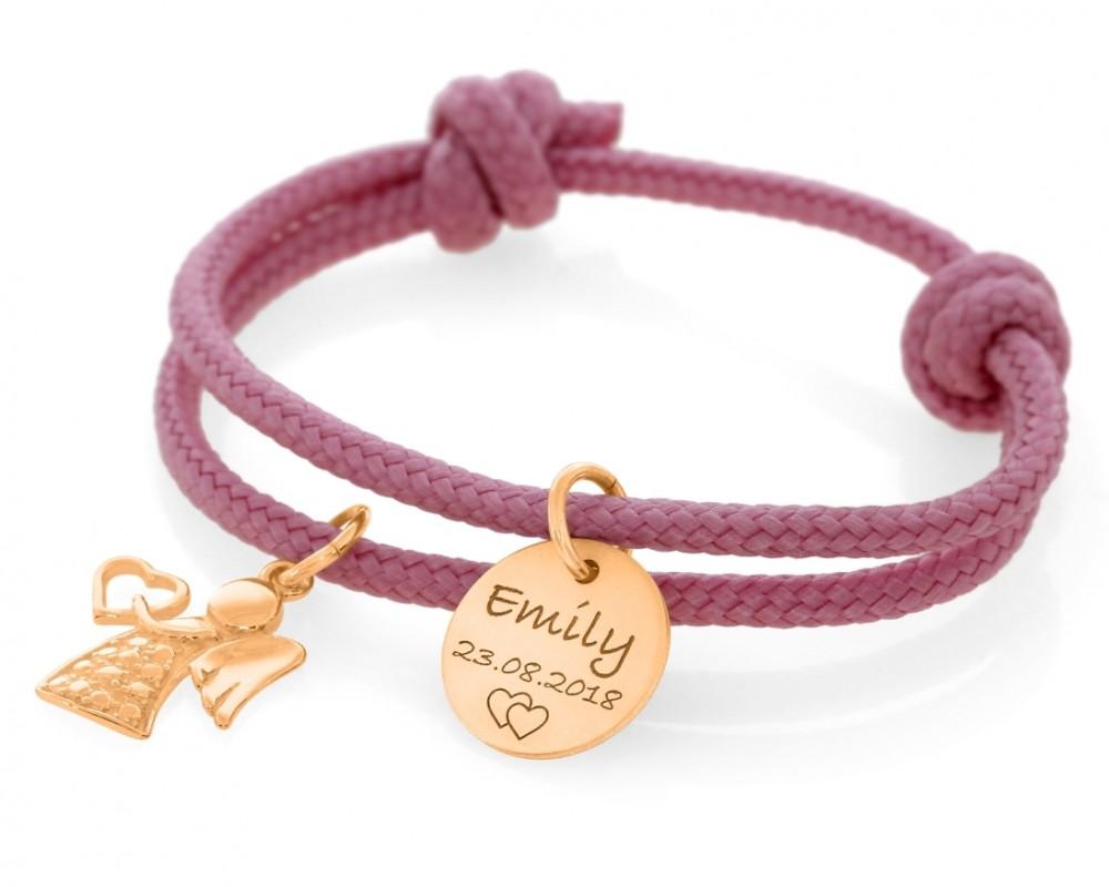 Schutzengel Armband 3mm mit Gravur Namensarmband rosé vergoldet Segelseil