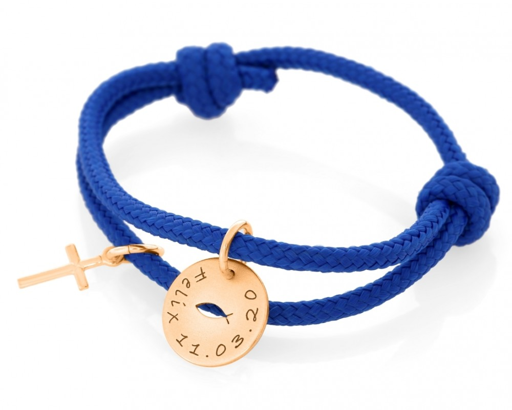 Geschenk zur Taufe Junge blaues Segelseil 3mm Gravur Anhänger rosé vergoldet