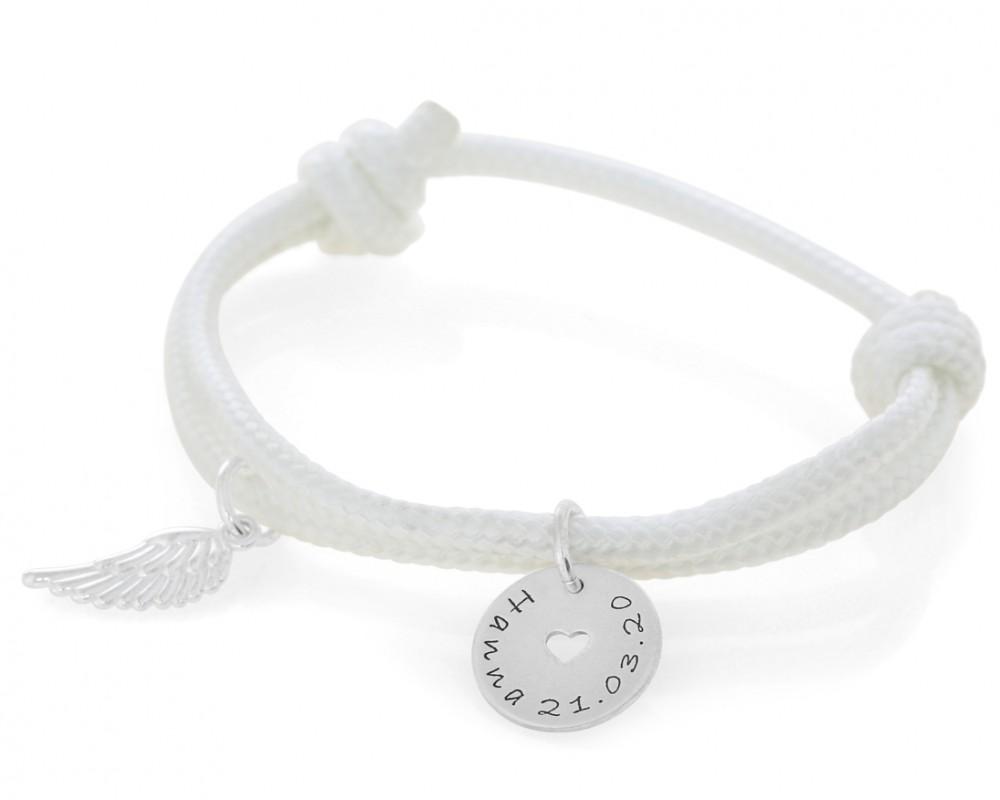 Namensarmband 3mm  zur Taufe Kommunion Segelseil Gravur Armband weiß