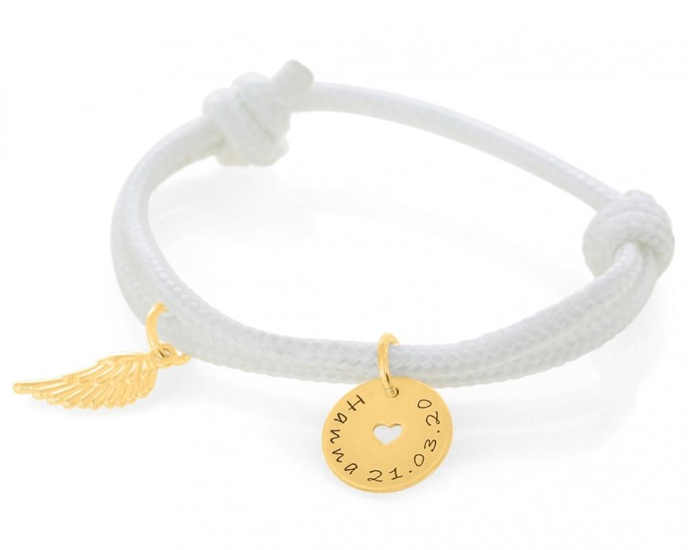 Armband 3mm Gravur Kinderschmuck vergoldet Segelseil Flügel Anhänger