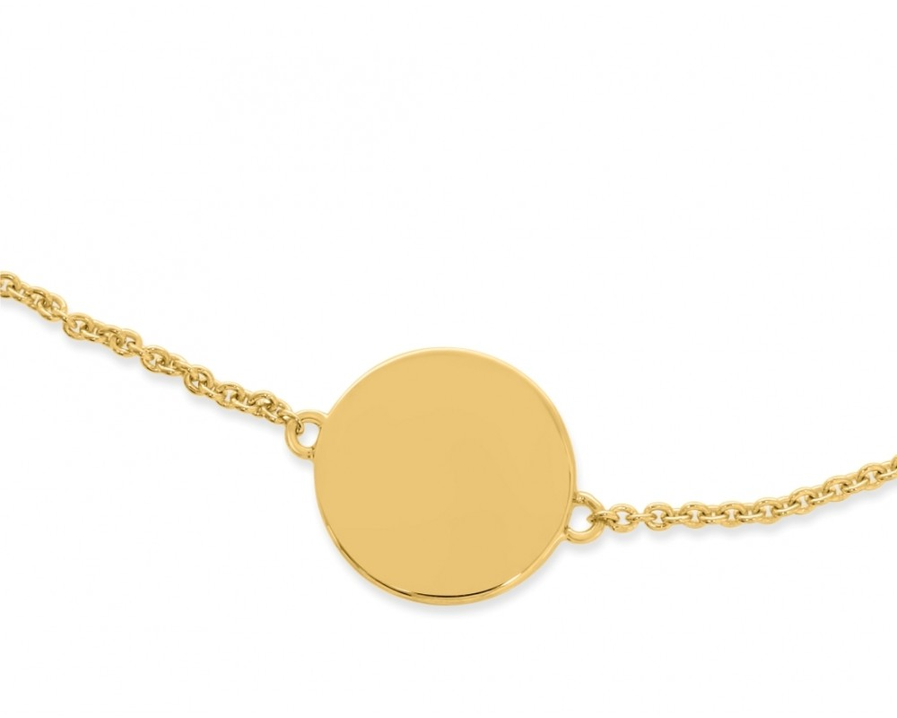 Armband vergoldet Gravur Anhänger 925 Silber