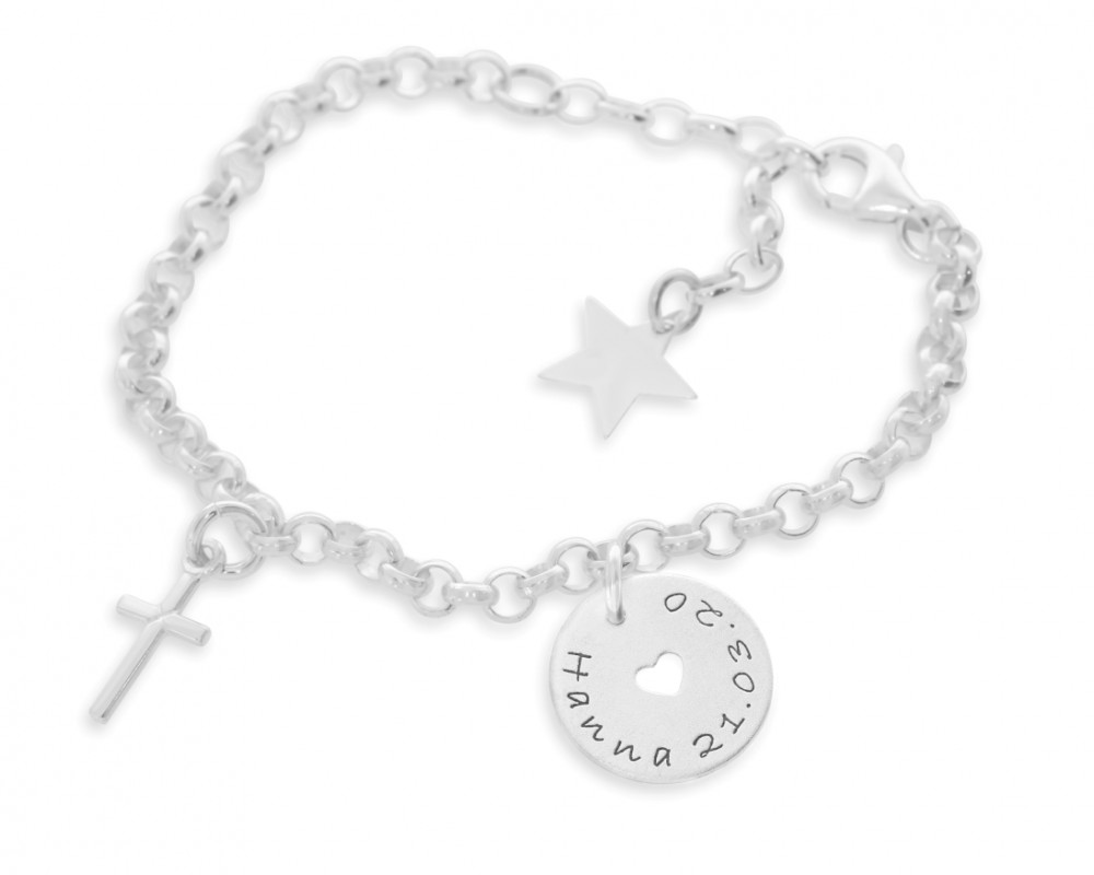 Armband 925 Sterling Silber Gravur Taufe Kommunion
