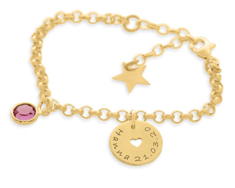 Armband vergoldet Mädchen Junge Gravur Geschenk Taufe Geburtstag Geburt