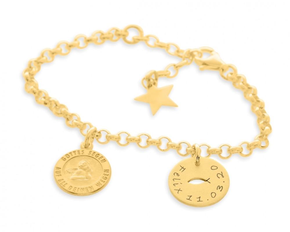 Ichthys Armband vergoldet Taufschmuck mit Gravur Namensarmband Engel