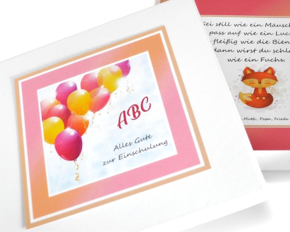 Einschulung Geschenk Schachtel mit Wunschtext Geburtstag Box Junge Mädchen ABC