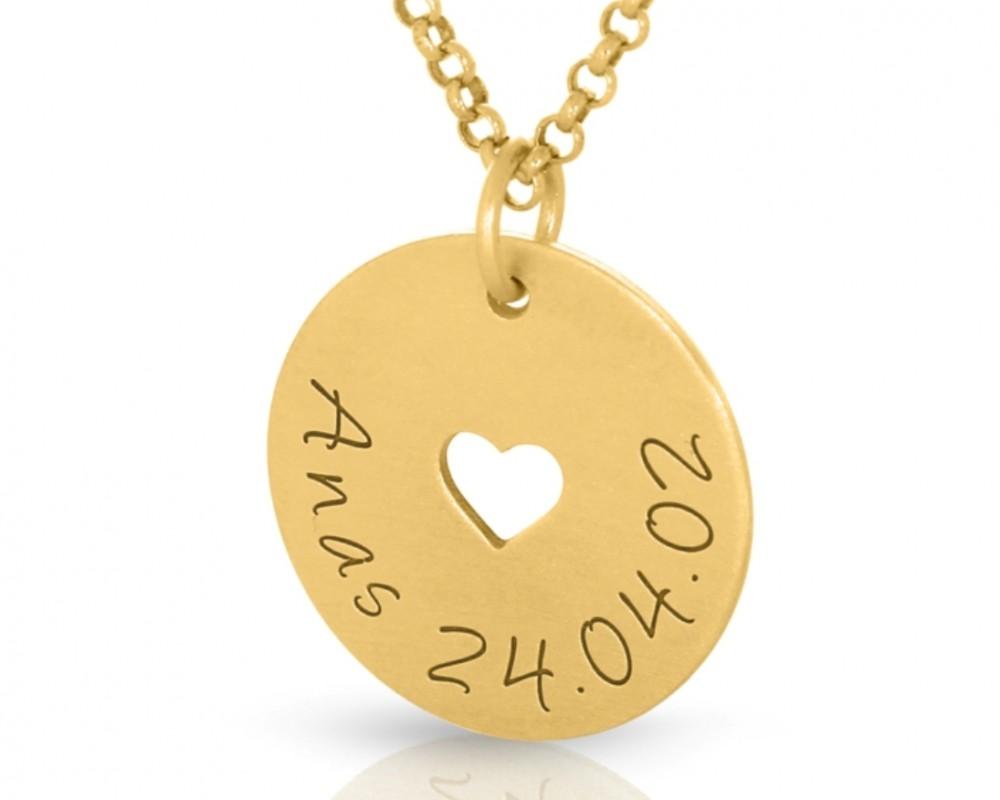 Damenkette Herz Name Halskette vergoldet Geschenk Mama