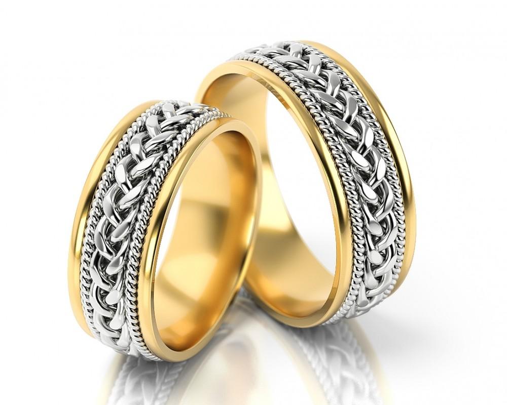 Besondere eheringe gold  TRAURINGE BICOLOR 333/- GOLD, BESONDERE EHERINGE, GEFLOCHTEN | GALWANI