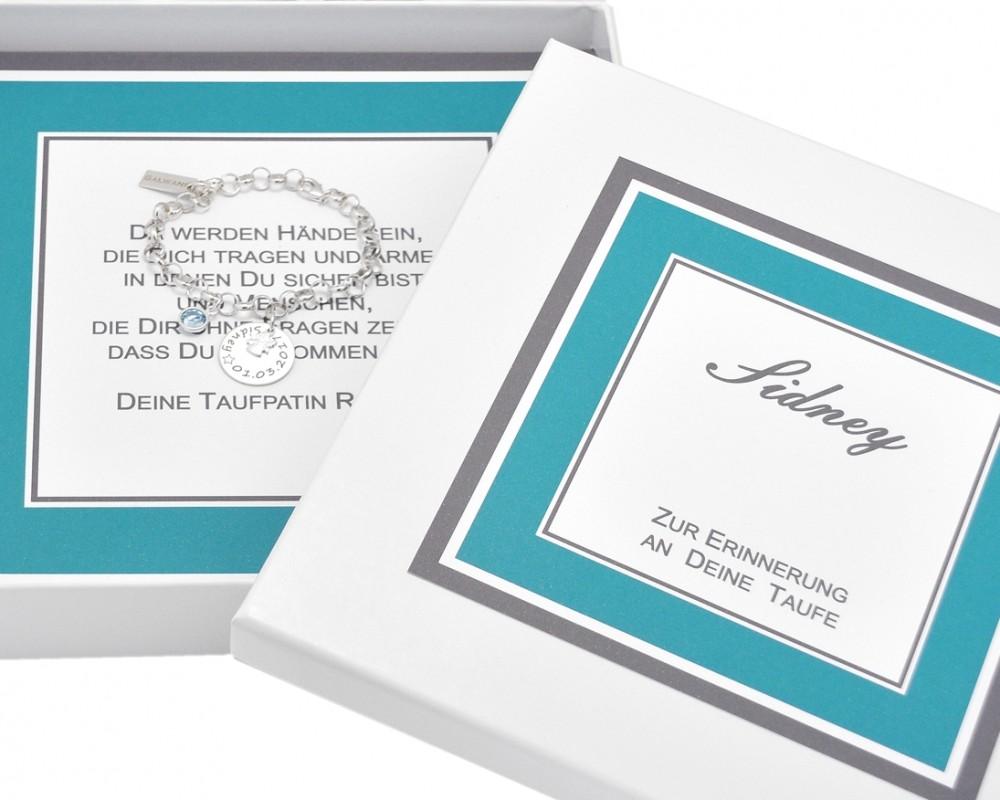 taufarmband silber armband mit gravur geschenk schachtel taufgeschenk patenkind galwani. Black Bedroom Furniture Sets. Home Design Ideas