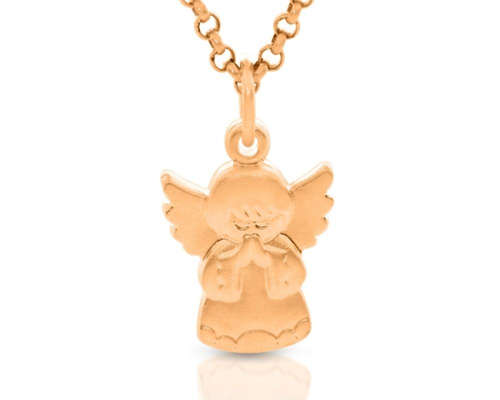 Schutzengel Kette rosé vergoldet mit Namen Gravur Engel