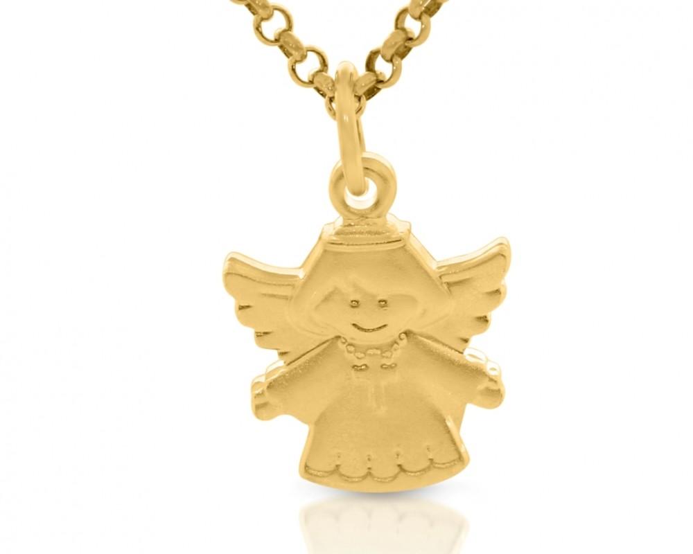Engel mit Kreuz Anhänger vergoldet Taufschmuck Kinderkettte
