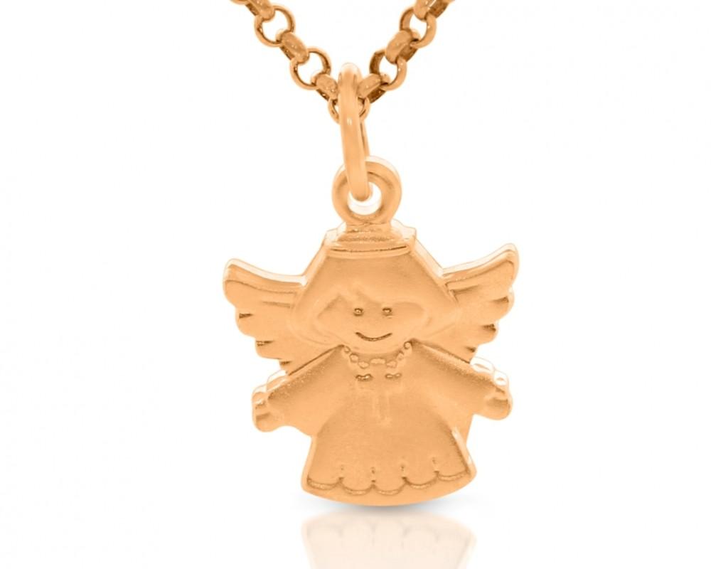 Taufanhänger Engel mit Kreuz Gravur Geschenk Schutzengel Name rosé vergoldet
