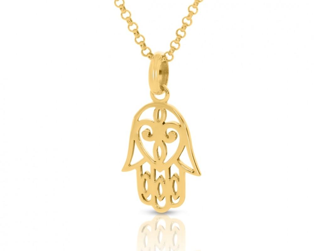Symbol Kette Glücksbringer vergoldet Hand Anhänger Fatima
