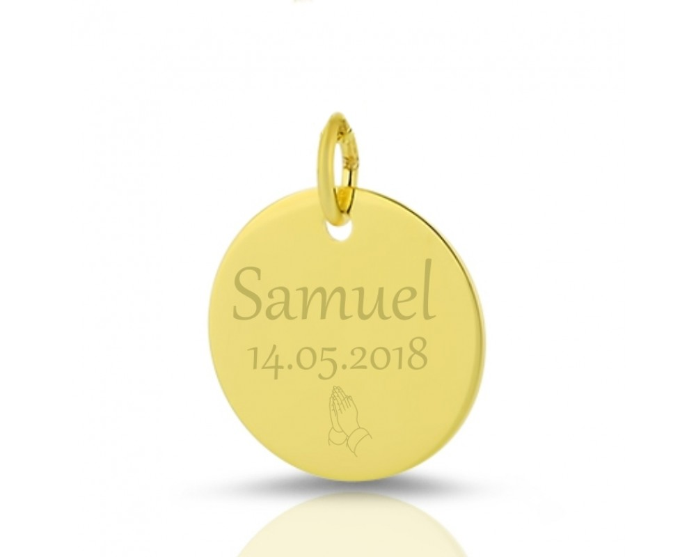 GOLD ANHÄNGER MIT GRAVUR 333/- GOLDSCHMUCK ZUR TAUFE NAMEN NAMENSANHÄNGER NAME