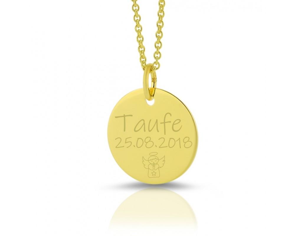 GOLDKETTE GRAVUR MIT ANHÄNGER GRAVURSCHMUCK PERSONALISIERT ENGEL 333 Gold