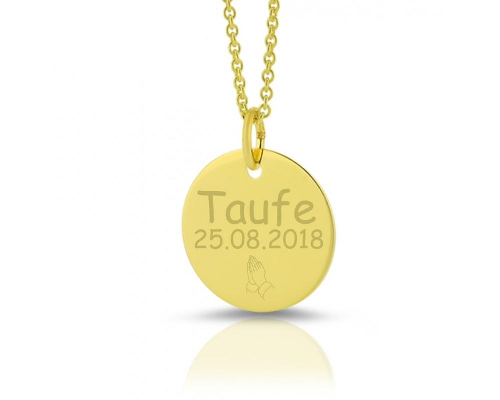 GOLDKETTE GRAVUR MIT ANHÄNGER GRAVURSCHMUCK PERSONALISIERT TAUFE 333 Gold