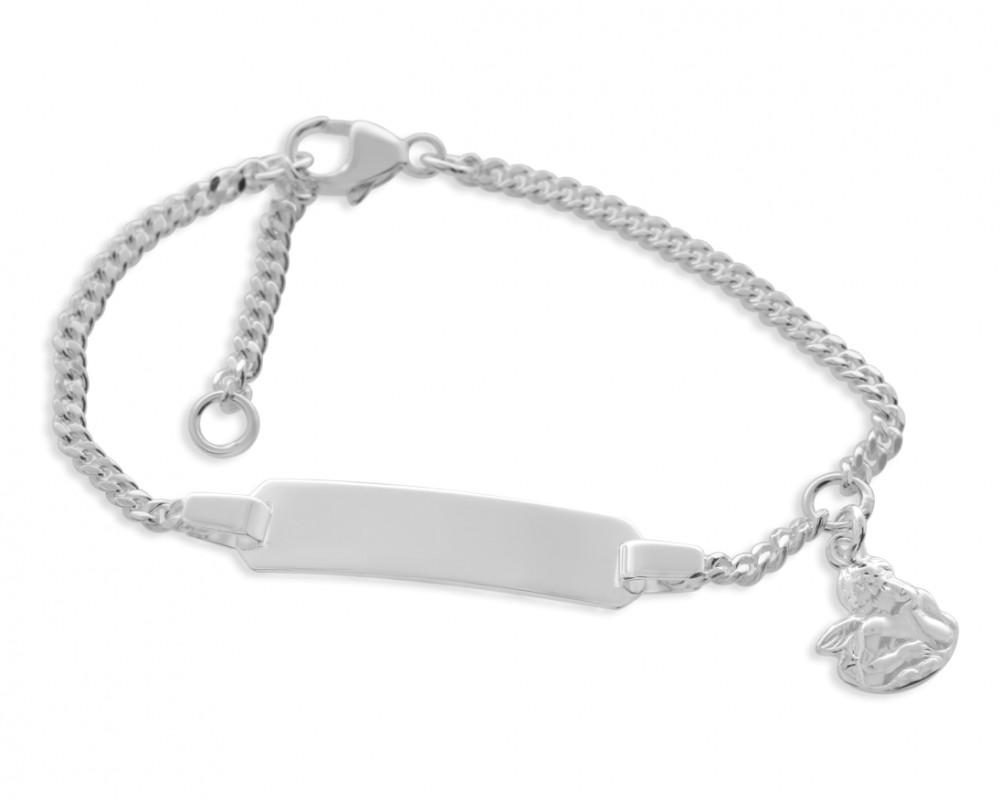 Kinderarmband ID silber Gravur Schutzengel 925 Silber