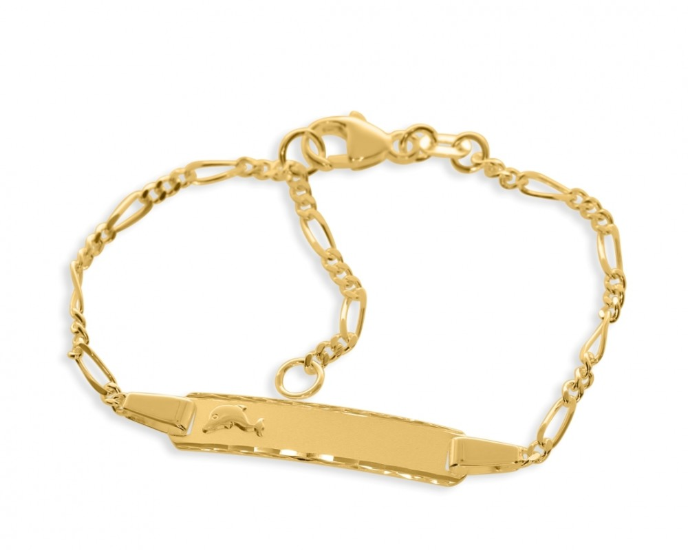 Kinderschmuck Delfin vergoldet Gravur Taufschmuck Babyarmband gold