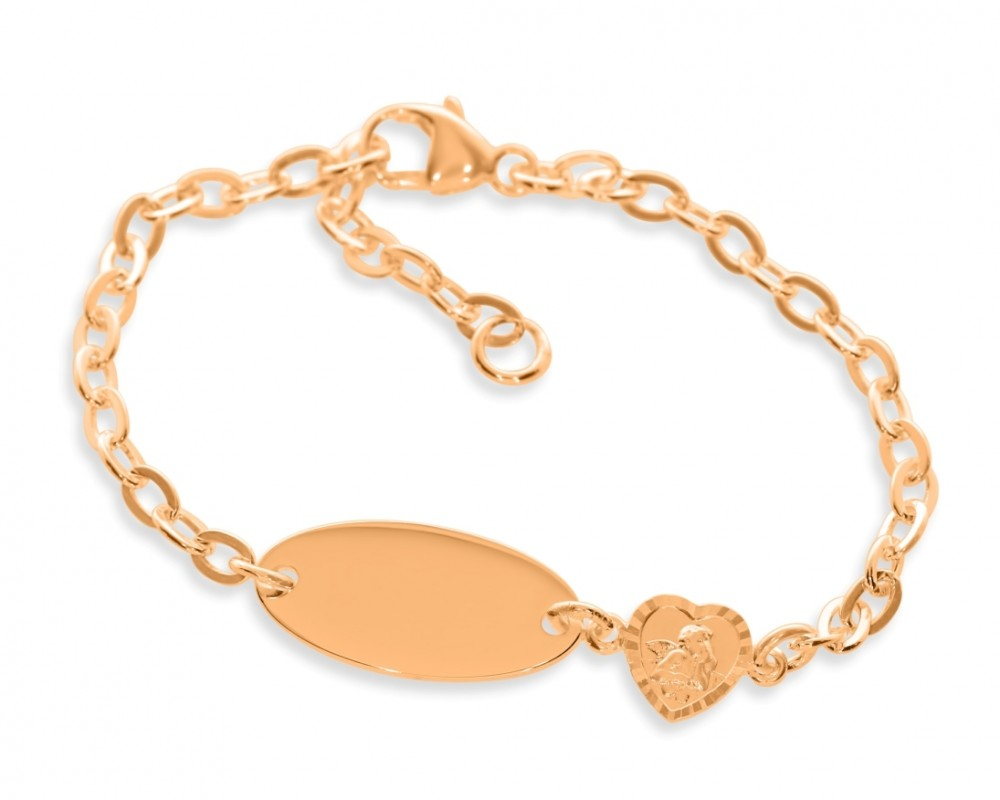 Taufarmband Engel Gravur ID Armband rosé vergoldet