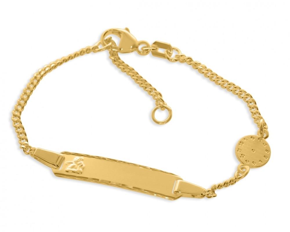 Taufarmband Gravur vergoldet Schutzengel Uhrzeit Geburtszeit Uhr