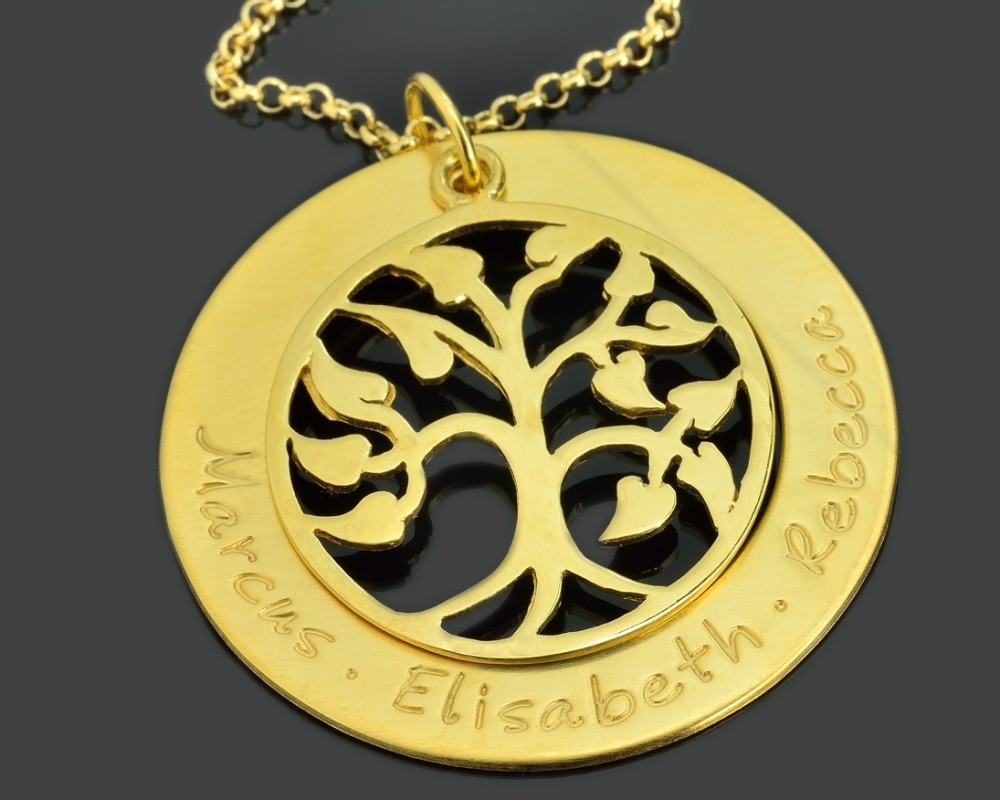 kette mit gravur lebensbaum schmuck namenskette gold. Black Bedroom Furniture Sets. Home Design Ideas