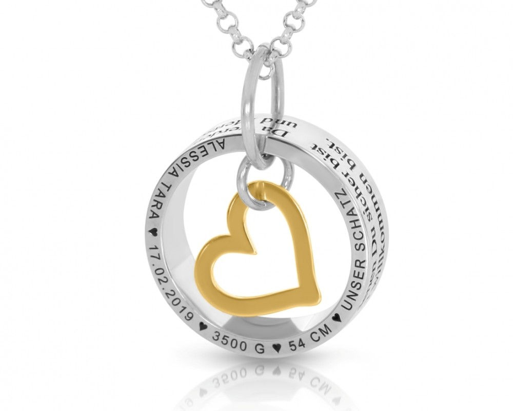 Namenskette Gravur Herz Schmuck gold 925 Sterling Silber