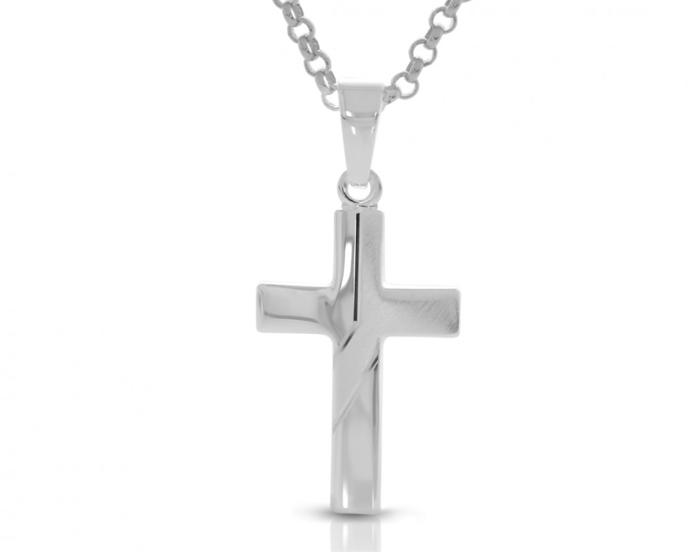 Kreuz Anhänger Kette Kommunion Gravur silber Geschenk Taufe