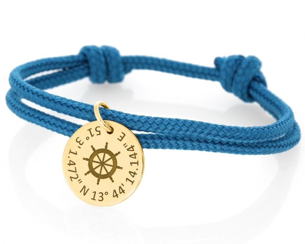 Segelseil Armband blau Steuerrad maritim mit Gravur vergoldet