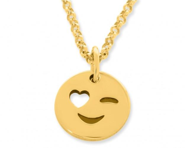Smiley Kette Silber vergoldet Sommer Schmuck Anhänger rund mit Herz