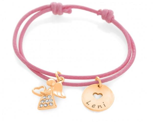 Armband zur Taufe Namensplättchen rosé vergoldet Kinderschmuck