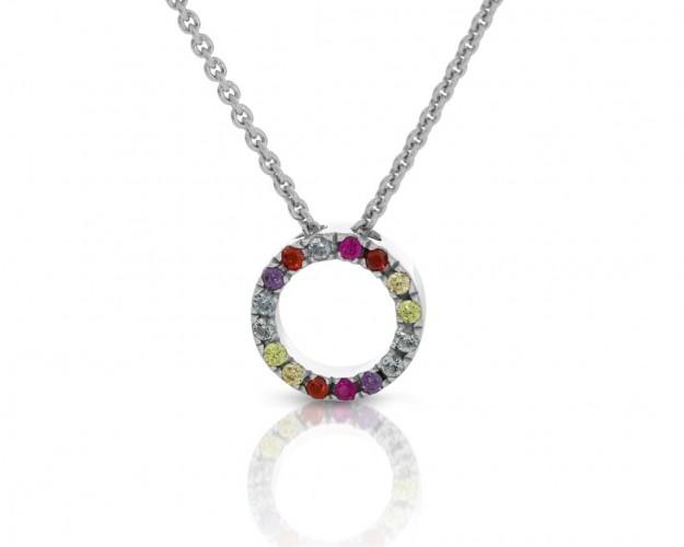 filigrane Halskette mit bunten Zirkonia 925 Silber