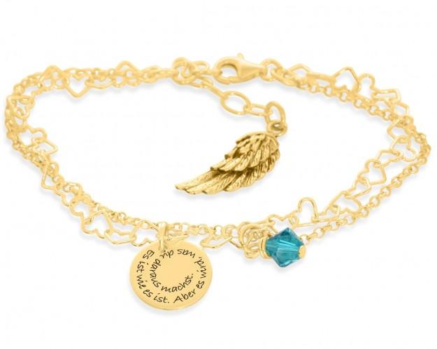 Armkette mit Spiralgravur Herz Flügel Anhänger vergoldet