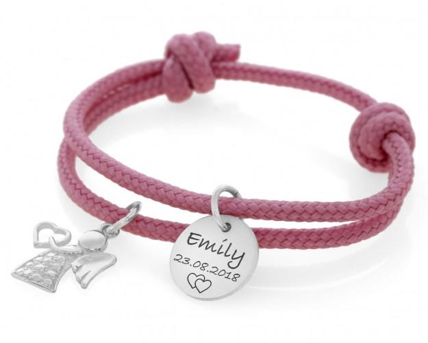 Kinderarmband rosé Segelseil 3mm Gravur Anhänger Name Geschenk