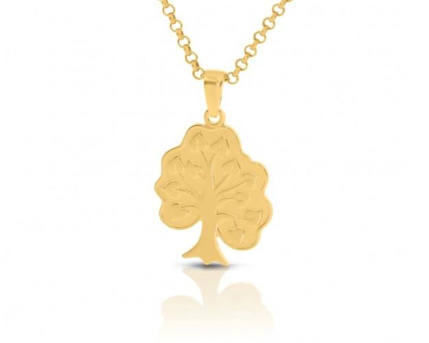 Lebensbaum Anhänger vergoldet, Kette mit Anhänger gold