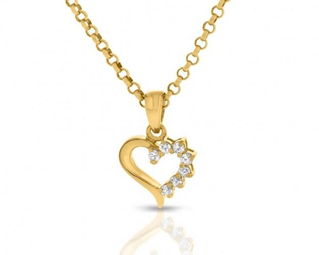 Herz Kette vergoldete Herz Anhänger Zirkonia gold