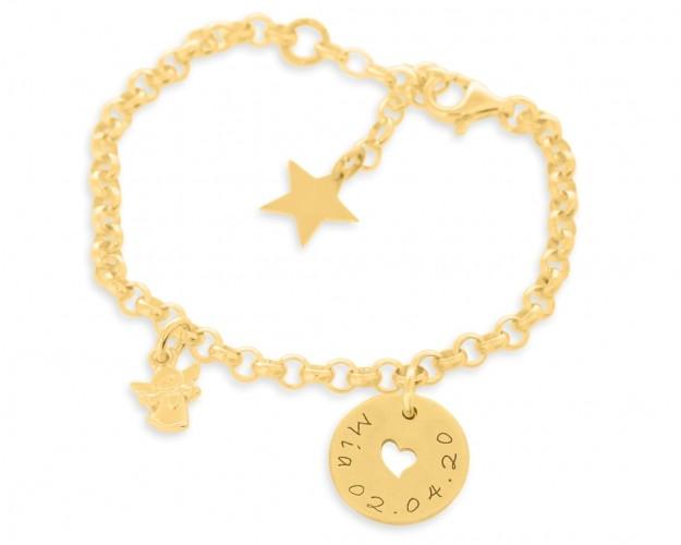 Schutzengel Armband vergoldet Namensgravur Herz Anhänger Stern