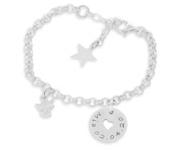 Silberarmband mit Gravur Name Kinder Armband Engel Schmuck