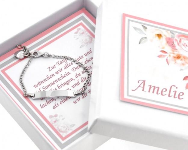 Armband Gravur Herz Anhänger Taufe 925 Silber Geschenkschachtel