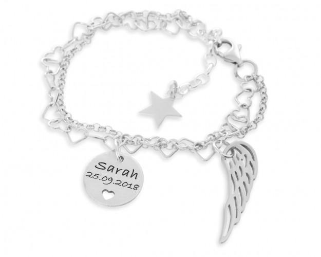 Namensarmband 925 Silber Armkettchen silber Flügel Stern Anhänger