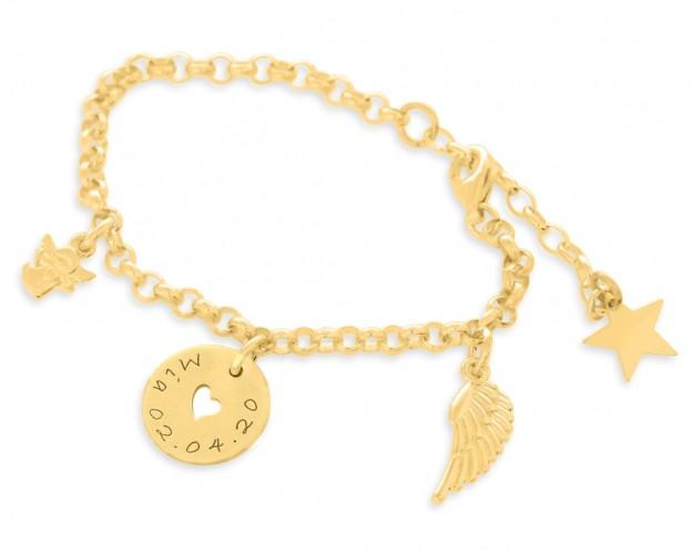 Armband Taufe Kommunion vergoldet Schutzengel Schmuck Flügel