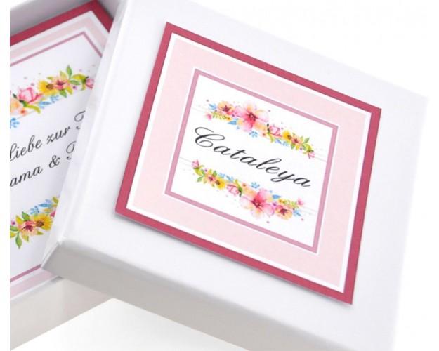 Geschenkschachtel Schmuck mit eigenem Wunschtext Spruch zu verschiedenen Anlässen personalisierbar