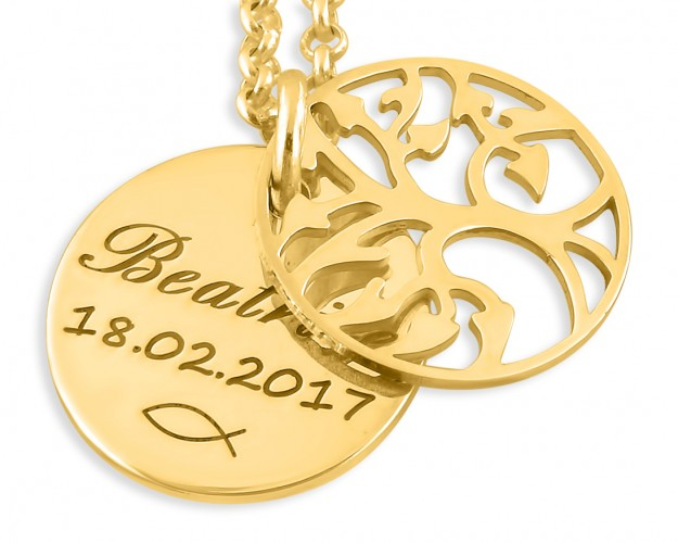 Lebensbaum Kette Mit Gravur Taufkette Gold Taufe Schmuck