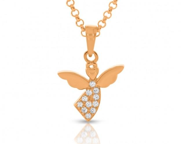 Halskette Engel Zirkonia elegant rosé vergoldet Schutzengel Geschenk Taufe