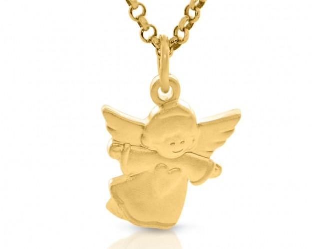 Schutzengel Anhänger mit Gravur vergoldet Geschenk Junge Mädchen