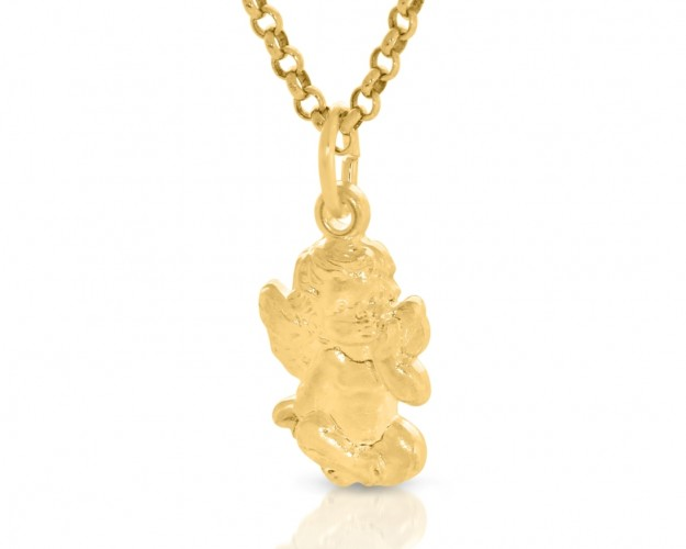Engel Kette mit Gravur vergoldet Taufschmuck Einschulungsgeschenk