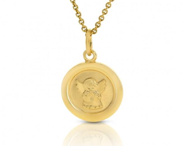 Engel Schmuck Gold Kette Anhänger rund  333er Gold