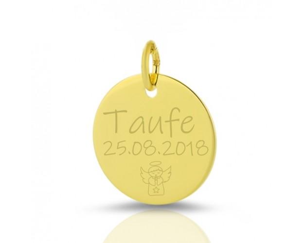 GOLD ANHÄNGER MIT GRAVUR 333 GOLDSCHMUCK ZUR TAUFE NAMEN NAMENSANHÄNGER NAME