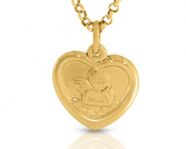 Taufschmuck Engel Anhänger Herz vergoldet Kinderschmuck