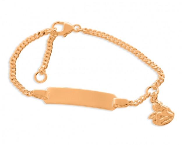 ID Armband rosé vergoldet Namensarmband Kinder Taufschmuck Engel