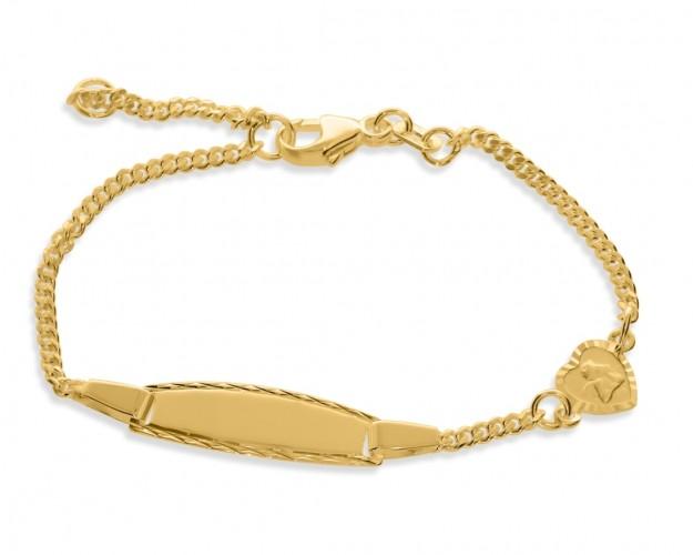 Taufarmband mit Gravur Engel Herz Anhänger vergoldet Kinder Baby Armband